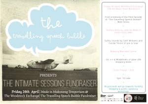 The Travelling Speech Bubble Fundraiser | 7pm | Woodstock Exchange| 26th April